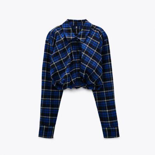 Camisa Cropped Cuadros ZARA