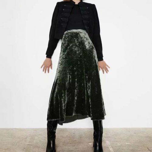 Falda de Tercipelo Khaki ZARA