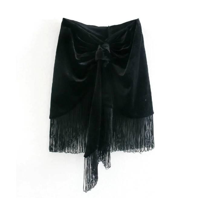 Minifalda Negra con Flecos ALIEXPRESS