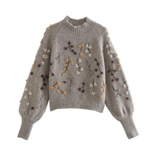 Suéter de Punto con Bordado de Flores ALIEXPRESS