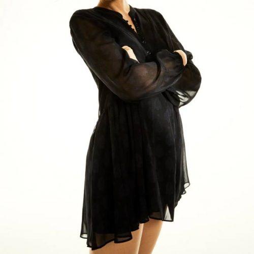 Vestido Estampado Negro ZARA
