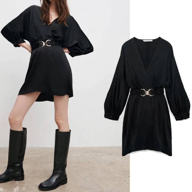 Vestido Negro Satinado Cinturon ALIEXPRESS