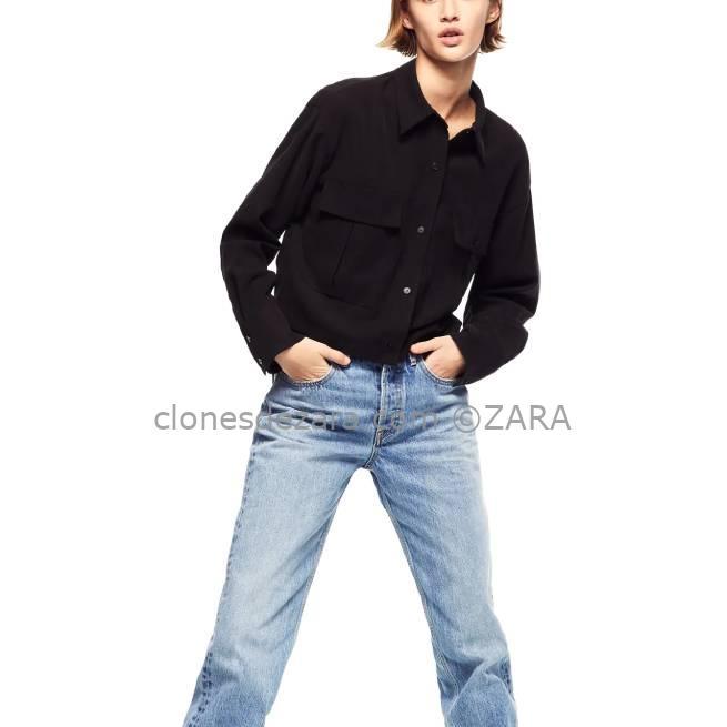 Camisa Cropped Bolsillos Negro ZARA