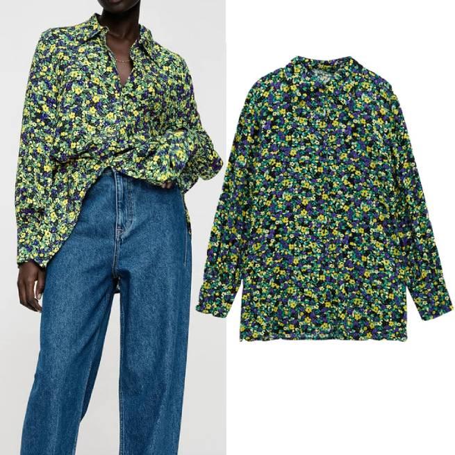 Camisa Estampada Flores Multicolor ALIEXPRESS