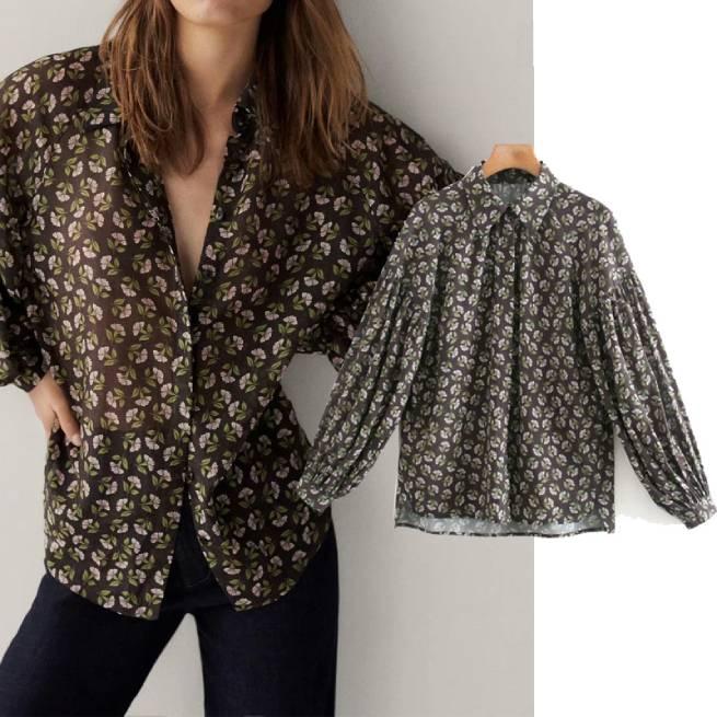 Camisa Flores Algodon Seda ALIEXPRESS