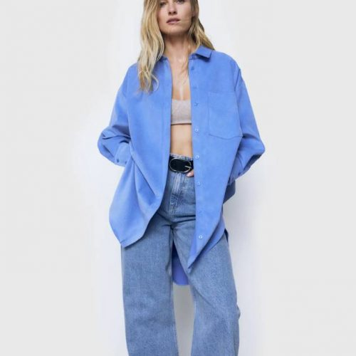 Camisa Micropana Oversize Azul ZARA