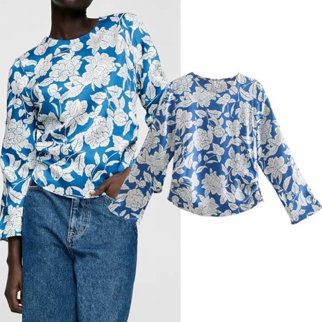 Camisa Satén Frunce Azul ALIEXPRESS