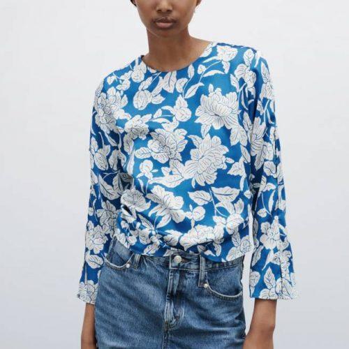 Camisa Satén Frunce Azul ZARA