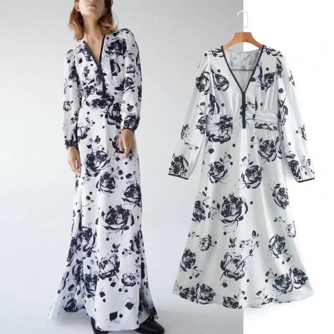 Vestido Estampado Floral Manga Larga ALIEXPRESS