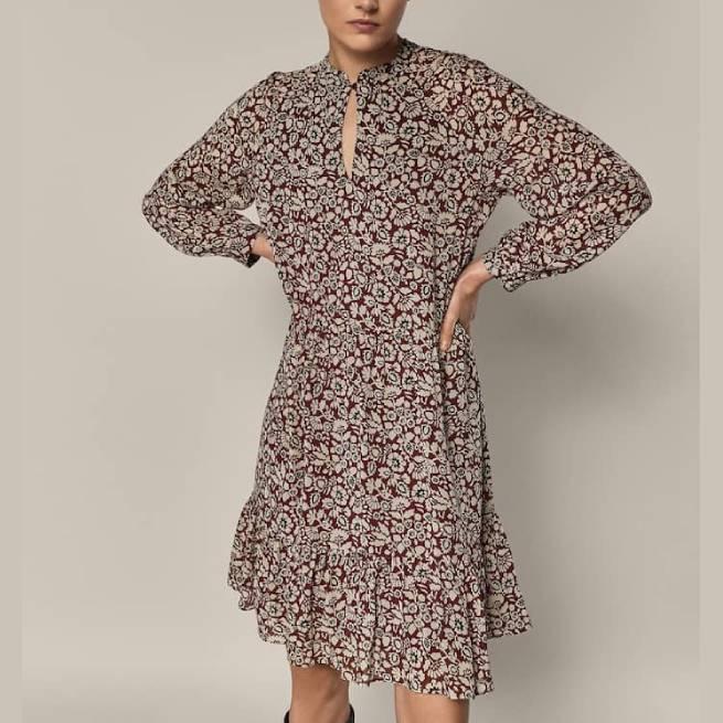 Vestido Estampado Flores Granate MASSIMO DUTTI