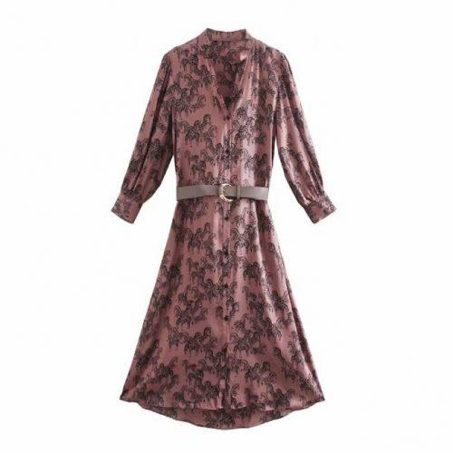 Vestido Midi Saten Estampado ALIEXPRESS
