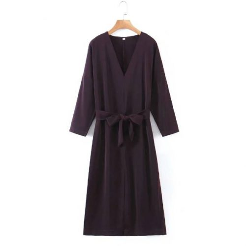 Vestido Midi Vintage con Escote en V ALIEXPRESS