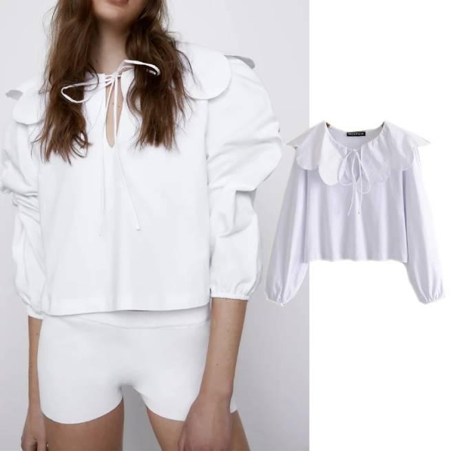 Blusa Cuello Combinado Blanca ALIEXPRESS