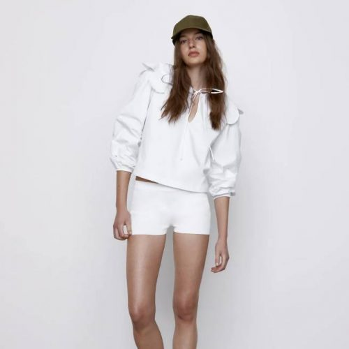 Blusa Cuello Combinado Blanca ZARA