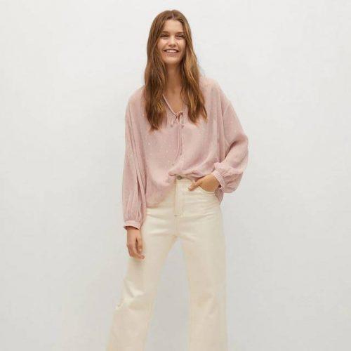 Blusa Detalles Metalizados Rosa MANGO