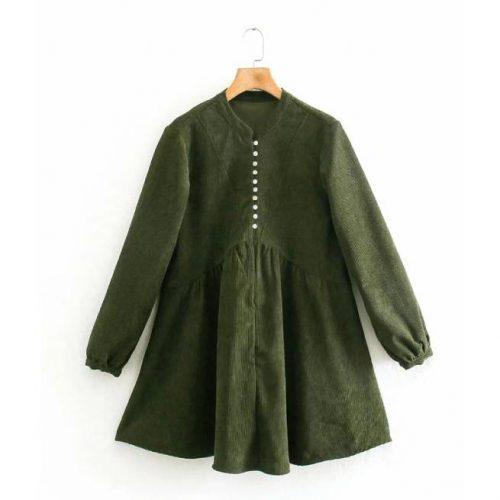 Vestido Corto de Pana Verde ALIEXPRESS