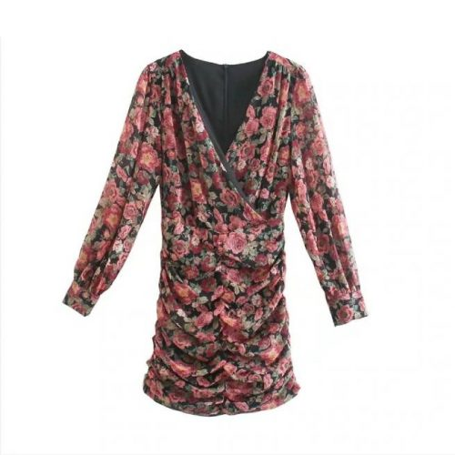 Vestido Floral Drapeado ALIEXPRESS