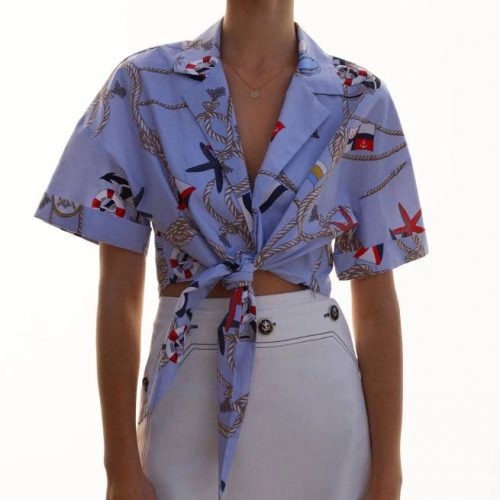 Camisa Cropped Estampada Celeste ZARA