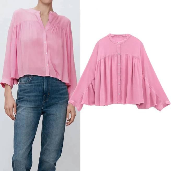 Camisa Cropped Frunces Rosa ALIEXPRESS