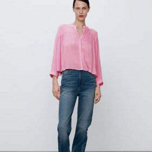 Camisa Cropped Frunces Rosa ZARA