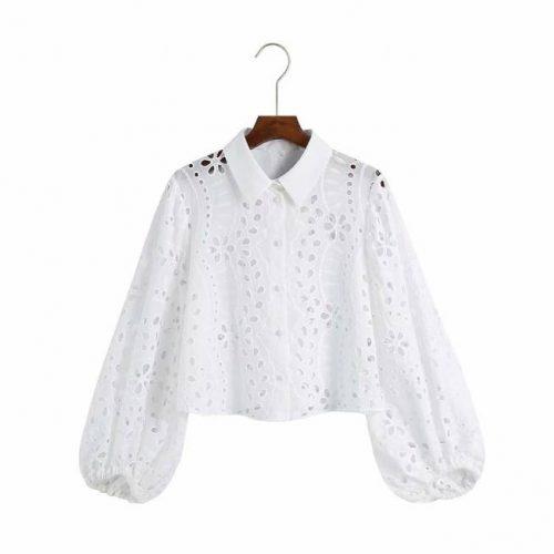 Camiseta Recortada con Bordado Calado ALIEXPRESS