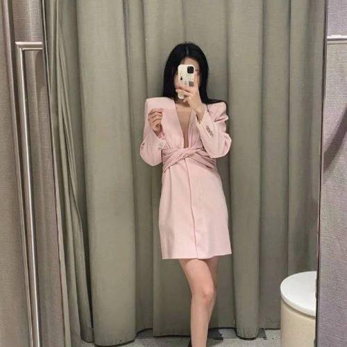 Chaqueta Vestido Frunces Rosa ALIEXPRESS