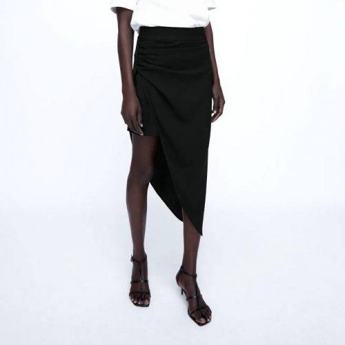 Falda Asimétrica Negra ZARA