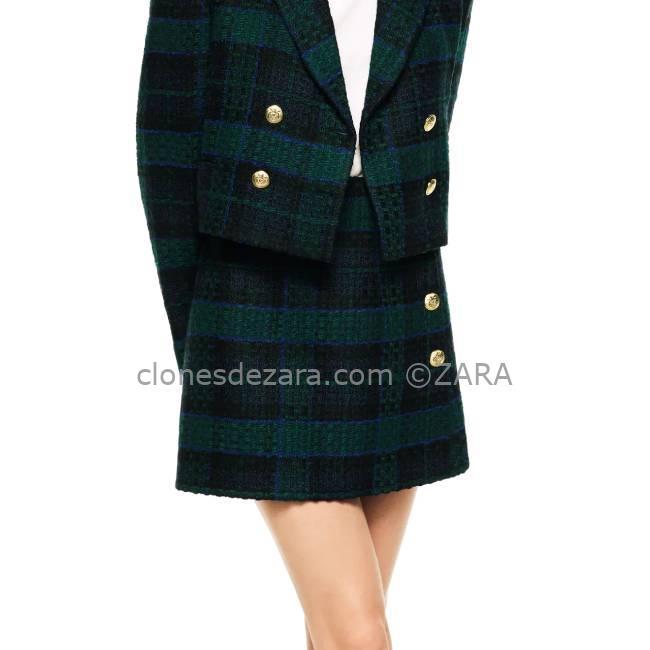 Falda Mini Combinada Verde ZARA