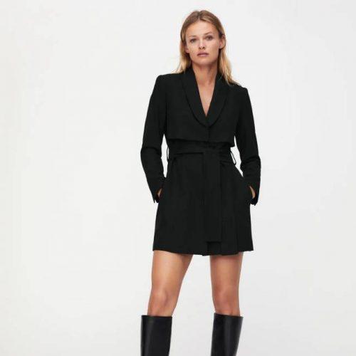Vestido Blazer Cinturón Negro ZARA