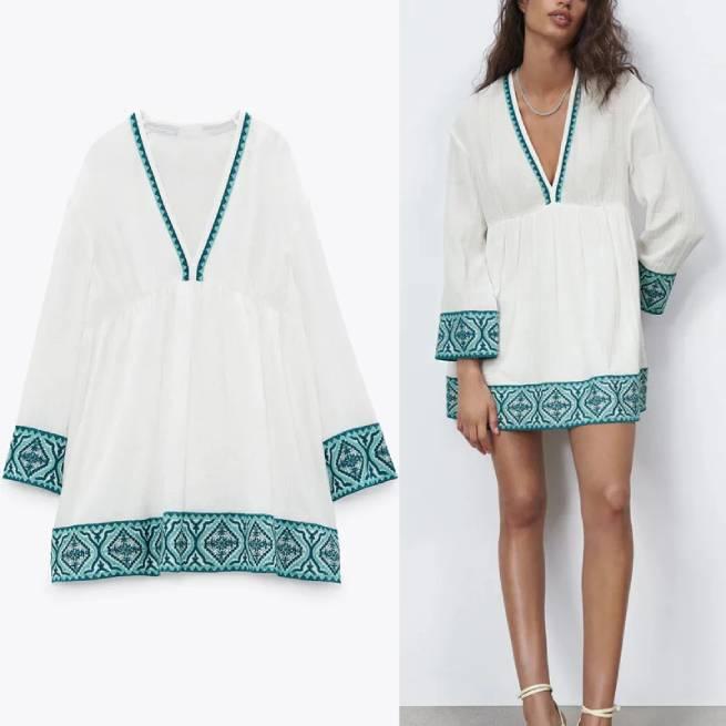 Vestido Combinado Textura Blanco ALIEXPRESS