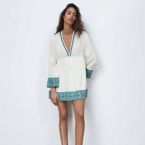 Vestido Combinado Textura Blanco ZARA