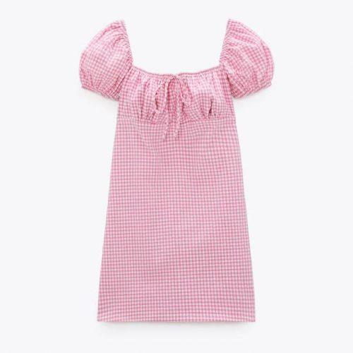 Vestido Cuadro Vichy Rosa ZARA