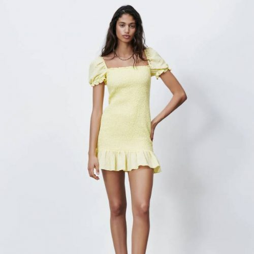 Vestido Estructura Amarillo ZARA