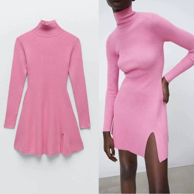 Vestido Mido Punto Rosa ALIEXPRESS