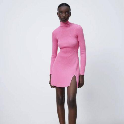 Vestido Mido Punto Rosa ZARA