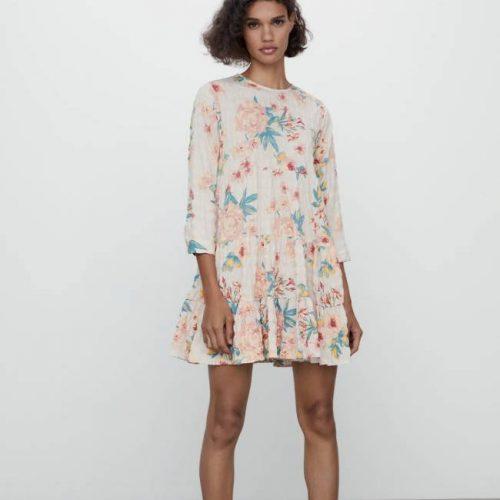 Vestido Mini Estampado Crudo ZARA