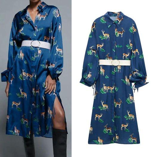 Vestido Satinado Estampado Azul Pato ALIEXPRESS