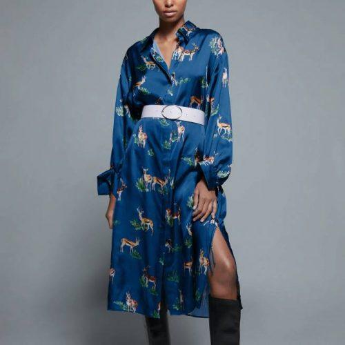 Vestido Satinado Estampado Azul Pato ZARA