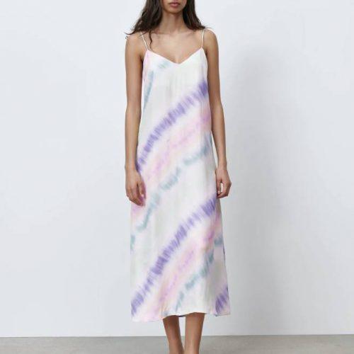 Vestido Satinado Tie Dye ZARA