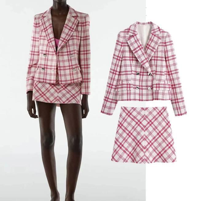 Blazer Estructura Cuadros Rosa Y Blanco ALIEXPRESS