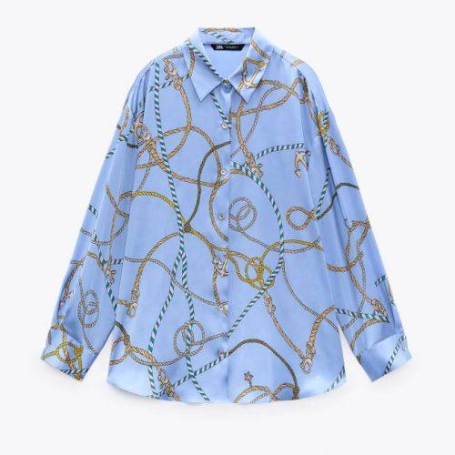 Camisa Fluída Estampada Multicolor ZARA