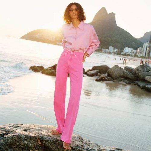 Jeans Wide Leg Full Length Color ZARA