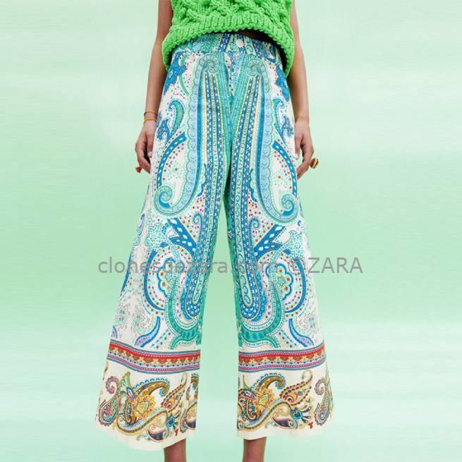 Pantalón Estampado Multicolor ZARA