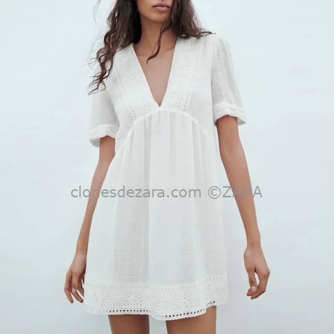 Vestido Con Lino Blanco ZARA