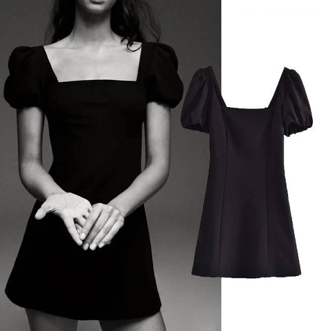 Vestido Con Lino Negro ALIEXPRESS