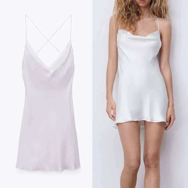 Vestido Corto Satinado Blanco ALIEXPRESS