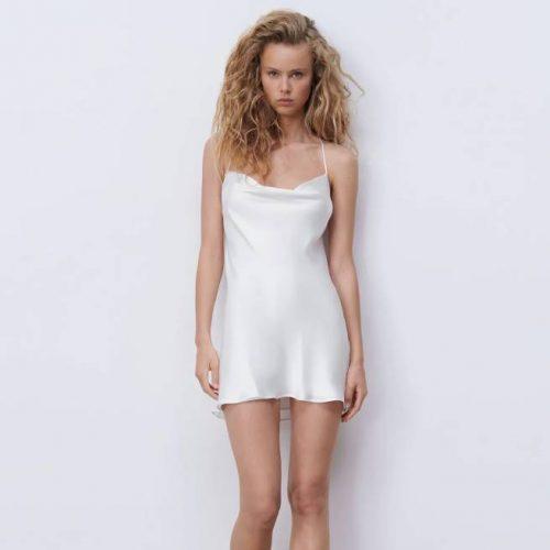 Vestido Corto Satinado Blanco ZARA