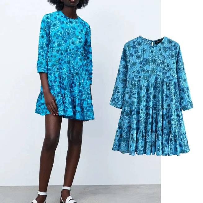 Vestido Estampado Flores Azul ALIEXPRESS