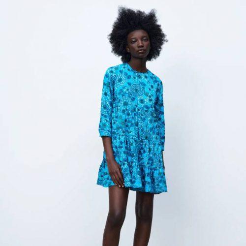 Vestido Estampado Flores Azul ZARA