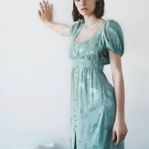 Vestido Jacquard Flores ZARA